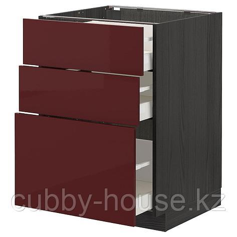 МЕТОД / МАКСИМЕРА Напольный шкаф с 3 ящиками, белый Калларп, глянцевый темный красно-коричневый, 60x60 см, фото 2