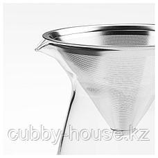 ХОГМОДИГ Кувшин и фильтр д/заваривания кофе, прозрачное стекло, нержавеющ сталь, 0.6 л, фото 2
