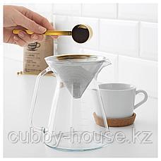 ХОГМОДИГ Кувшин и фильтр д/заваривания кофе, прозрачное стекло, нержавеющ сталь, 0.6 л, фото 3