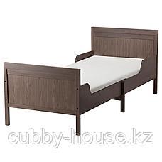 СУНДВИК Раздвижная кровать с реечным дном, серо-коричневый, 80x200 см, фото 2