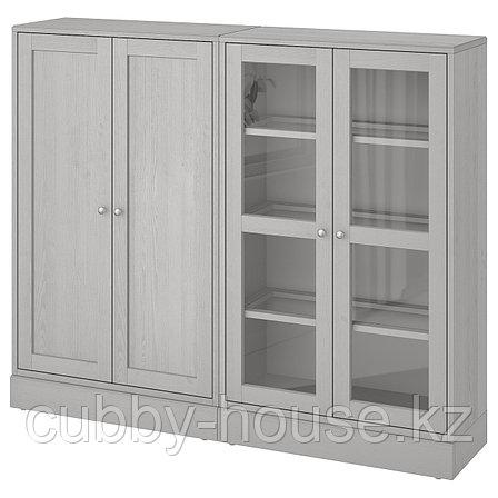 ХАВСТА Комбинация для хранения с сткл двр, темно-коричневый, 162x37x134 см, фото 2