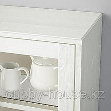 ХАВСТА Комбинация для хранения с сткл двр, темно-коричневый, 162x37x134 см, фото 3