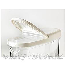 ИКЕА/365+ Контейнер+крышка д/сухих продуктов, прозрачный, белый, 1.3 л, фото 3