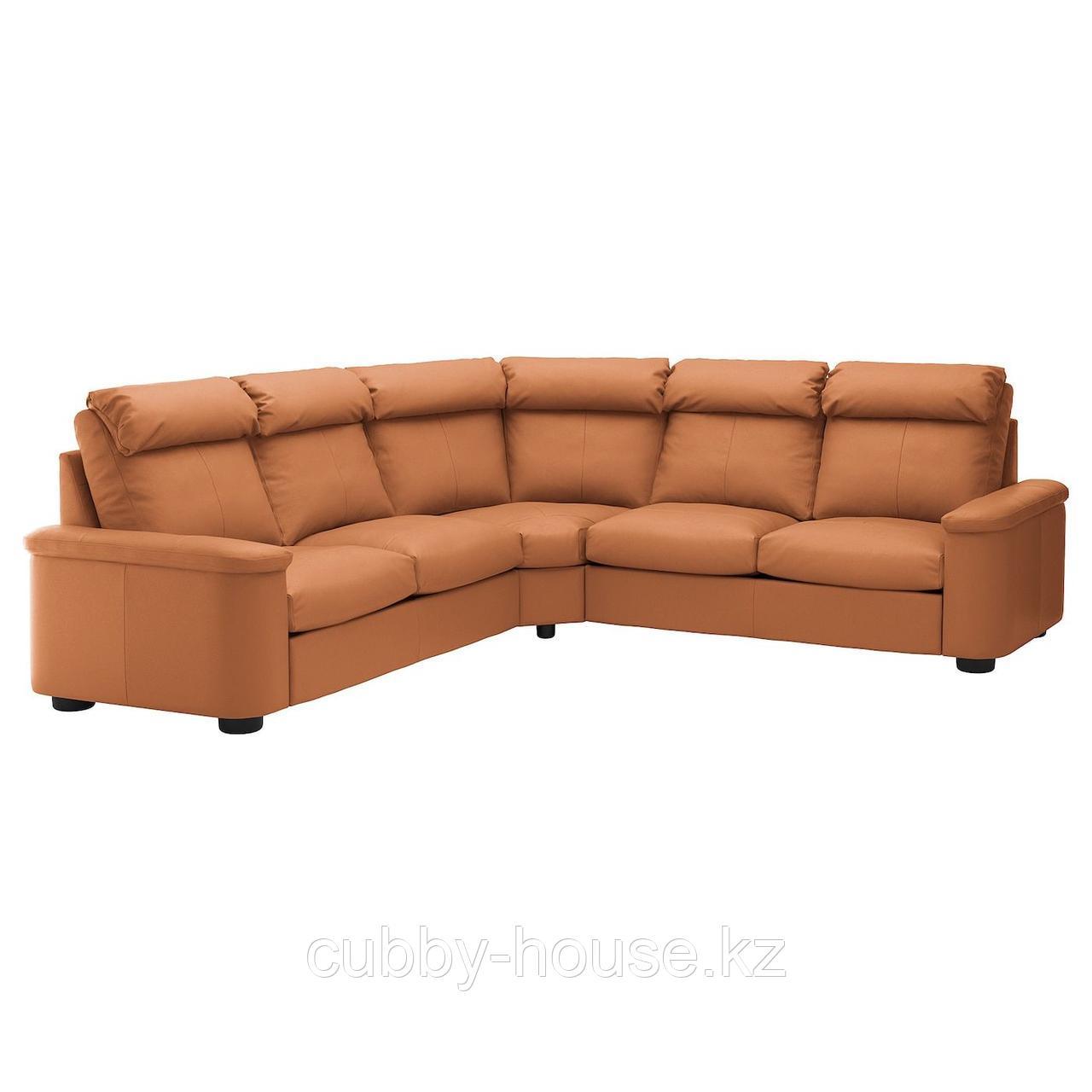 ЛИДГУЛЬТ Угловой диван-кровать, 5-местный, Гранн/Бумстад темно-коричневый