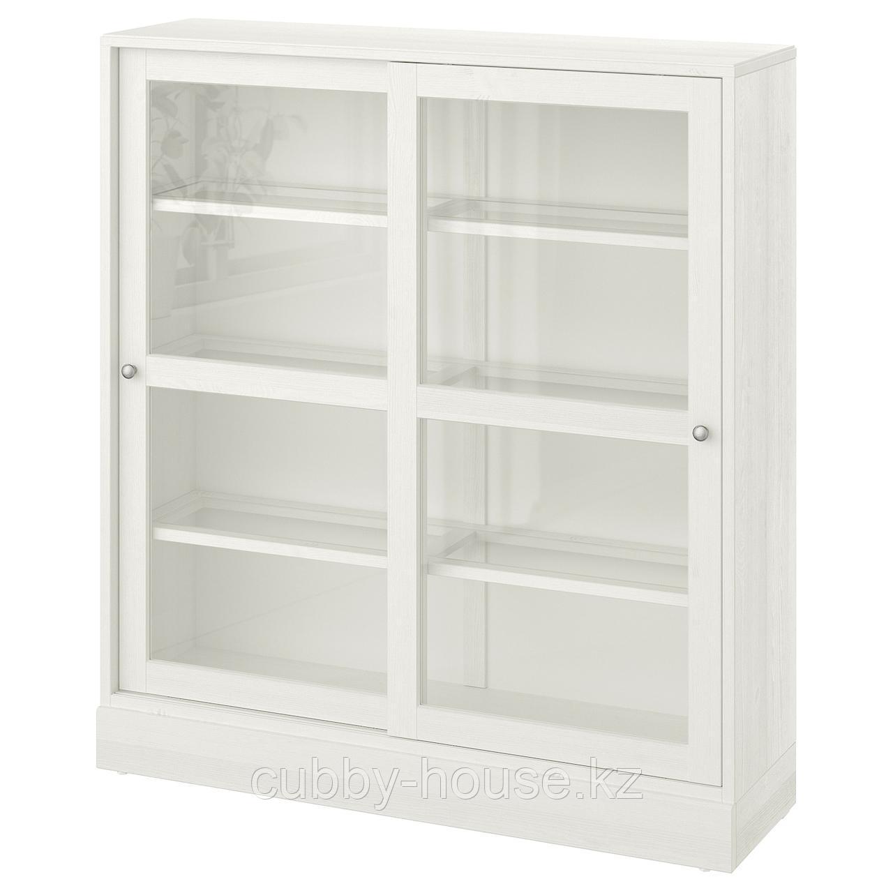 ХАВСТА Шкаф-витрина с цоколем, белый прозрачное стекло, 121x37x134 см