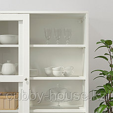 ХАВСТА Шкаф-витрина с цоколем, белый прозрачное стекло, 121x37x134 см, фото 3