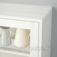 ХАВСТА Шкаф-витрина с цоколем, белый прозрачное стекло, 121x37x134 см, фото 2