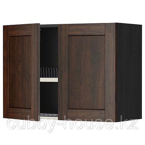 МЕТОД Навесной шкаф с посуд суш/2 дврц, белый, Будбин серый, 80x60 см, фото 2