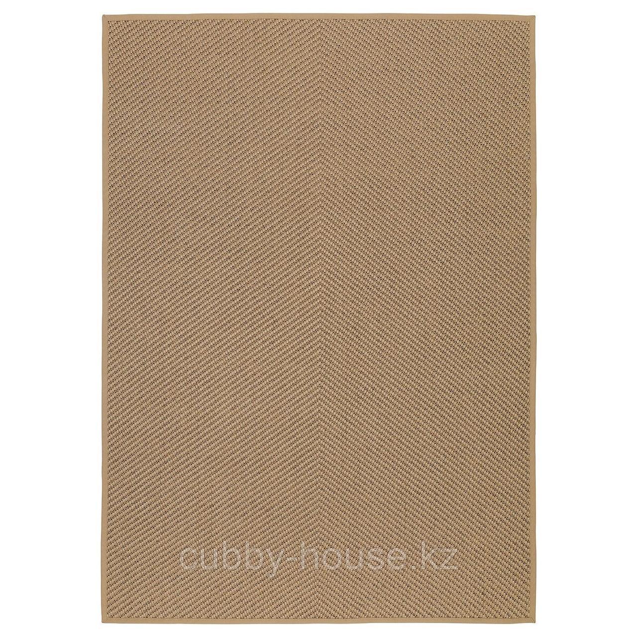 ХЕЛЛЕСТЕД Ковер безворсовый, неокрашенный, коричневый, 133x195 см