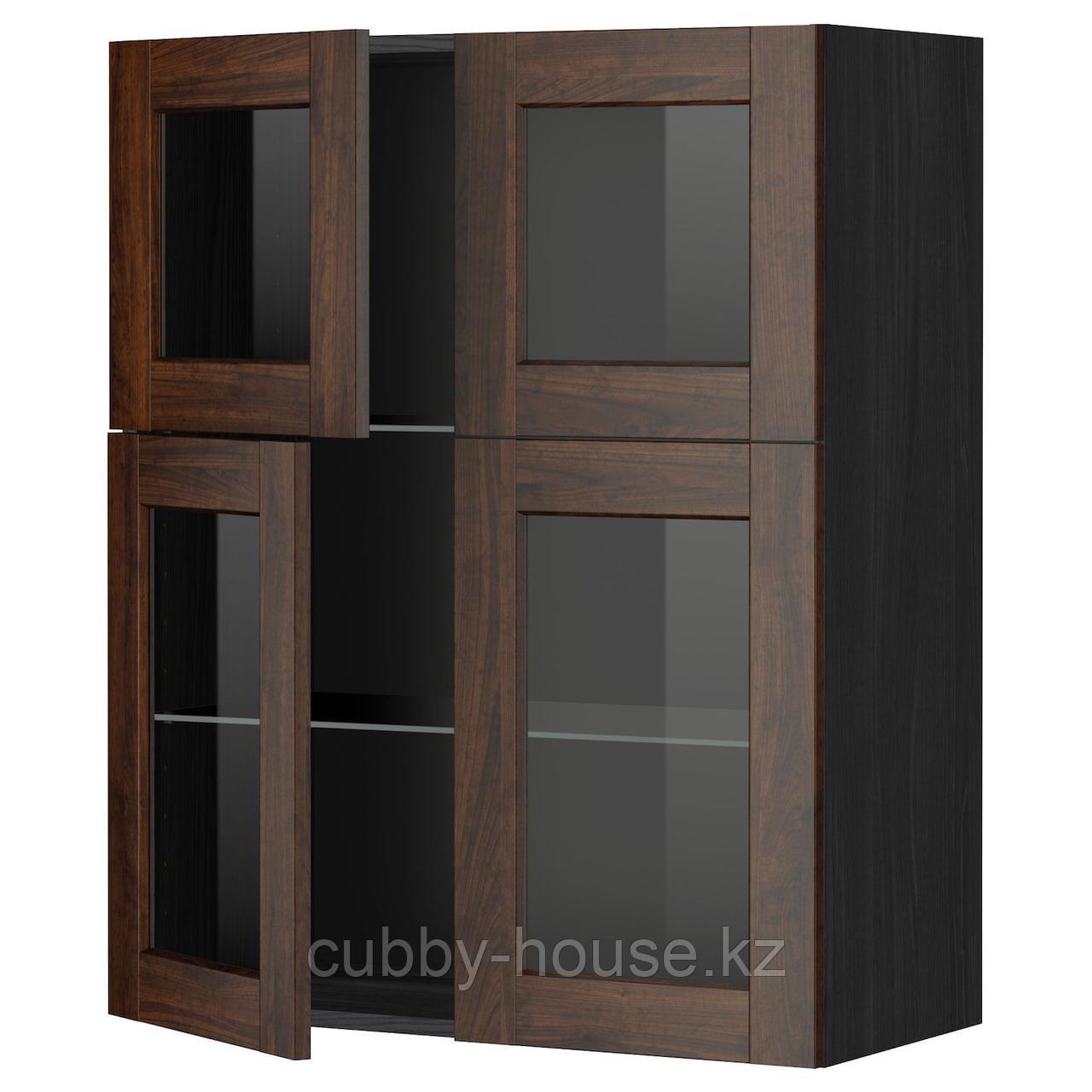 МЕТОД Навесной шкаф с полками/4 стекл дв, белый, Будбин серый, 80x100 см