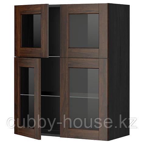 МЕТОД Навесной шкаф с полками/4 стекл дв, белый, Будбин серый, 80x100 см, фото 2