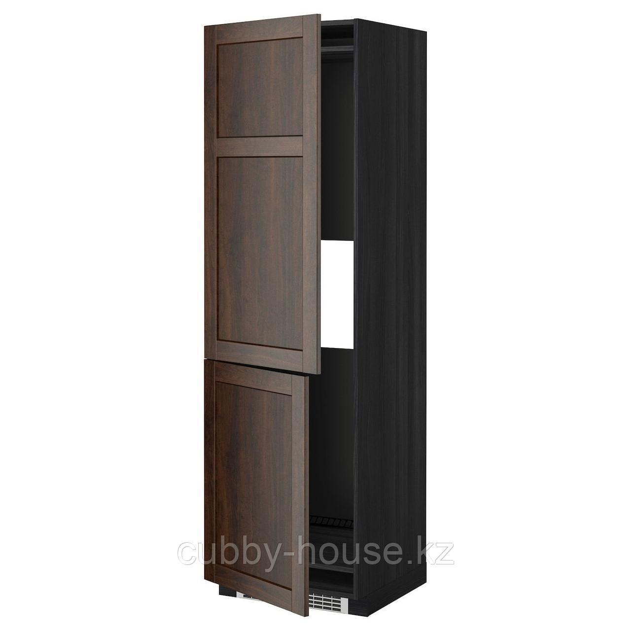 МЕТОД Высокий шкаф д/холод/мороз/2дверцы, белый, Рингульт светло-серый, 60x60x220 см