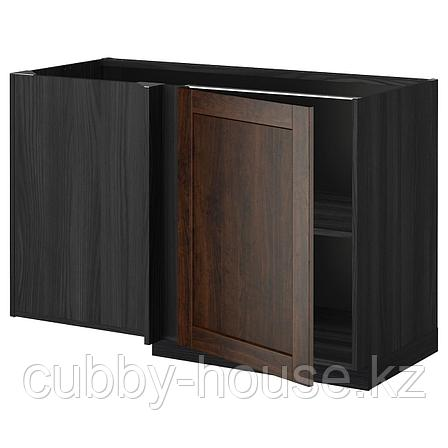 МЕТОД Угловой напольный шкаф с полкой, белый, Хэггеби белый, 128x68 см, фото 2