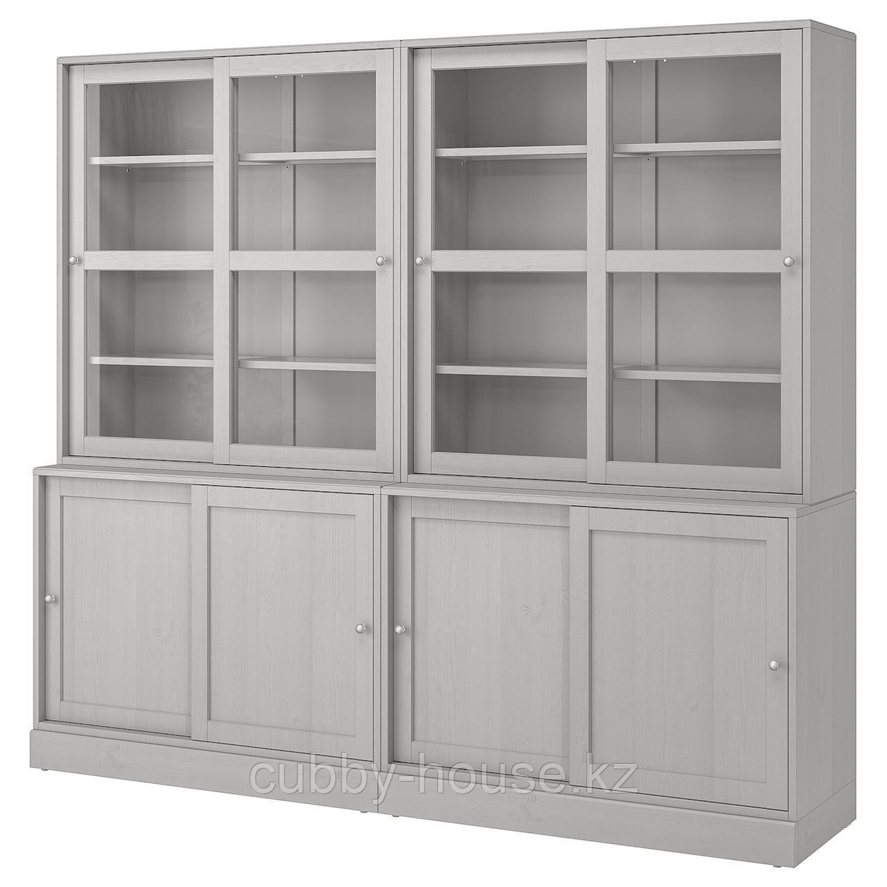 ХАВСТА Комбинация с раздвижными дверьми, белый, 242x47x212 см