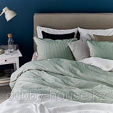 БЕРГПАЛМ Пододеяльник и 2 наволочки, зеленый, полоска, 200x200/50x70 см, фото 3