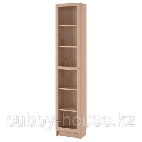 БИЛЛИ / ОКСБЕРГ Шкаф книжный со стеклянной дверью, белый, стекло, 40x30x202 см, фото 2