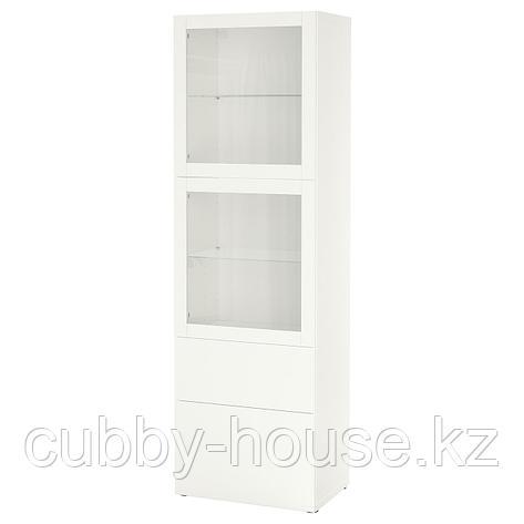 БЕСТО Комбинация д/хранения+стекл дверц, белый, Сельсвикен глянцевый/белый матовое стекло, 60x42x193 см, фото 2