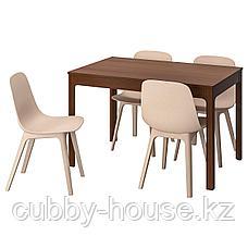 ЭКЕДАЛЕН / ОДГЕР Стол и 4 стула, коричневый, белый бежевый, 120/180 см, фото 2