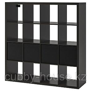 КАЛЛАКС Стеллаж с 4 вставками, белый, черный, 147x147 см, фото 2