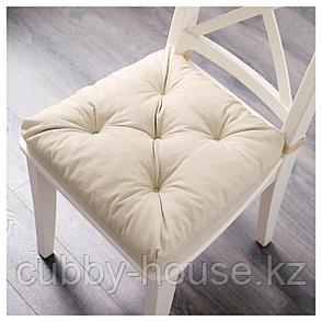МАЛИНДА Подушка на стул, светло-бежевый, 40/35x38x7 см, фото 2