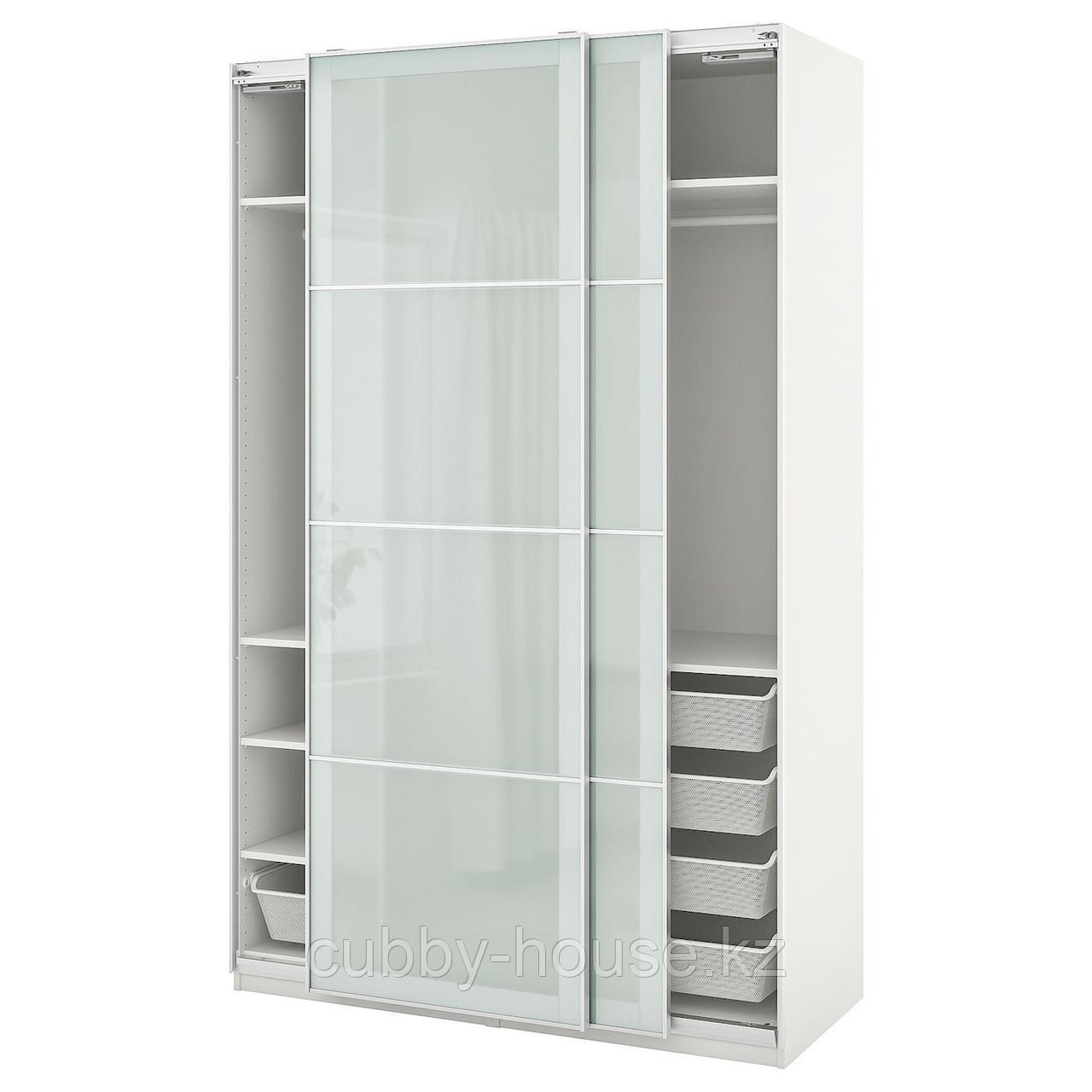 ПАКС / СЭККЕН Гардероб, комбинация, белый, матовое стекло, 150x66x201 см