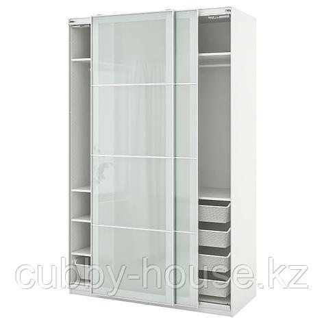 ПАКС / СЭККЕН Гардероб, комбинация, белый, матовое стекло, 150x66x201 см, фото 2