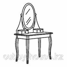 ХЕМНЭС Туалетный столик с зркл, белый, 100x50 см, фото 2