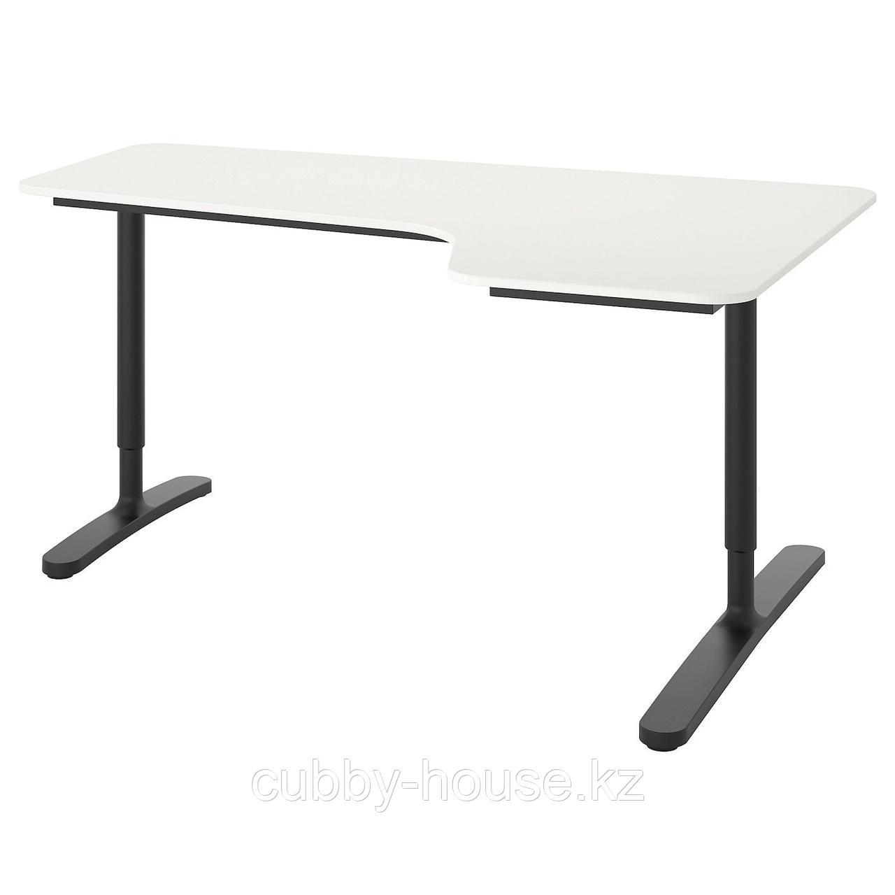 БЕКАНТ Углов письм стол правый, дубовый шпон, беленый, белый, 160x110 см