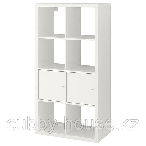 КАЛЛАКС Стеллаж с 2 вставками, белый, 77x147 см, фото 2