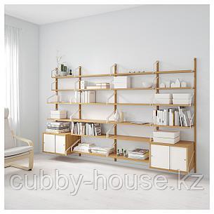 СВАЛЬНЭС Комбинация д/хранения, бамбук, белый, 297x35x176 см, фото 2