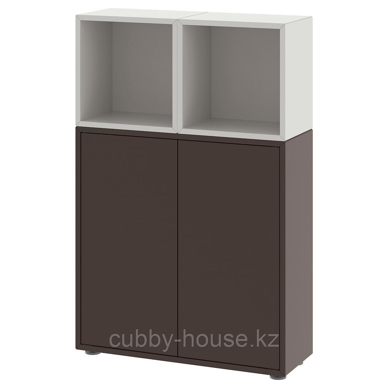 ЭКЕТ Комбинация шкафов с ножками, белый, под беленый дуб, 70x25x107 см