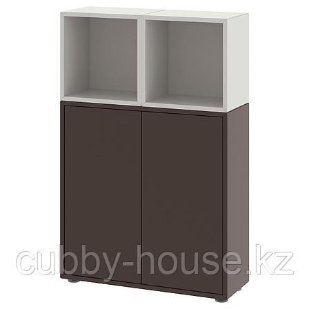 ЭКЕТ Комбинация шкафов с ножками, белый, под беленый дуб, 70x25x107 см, фото 2