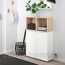ЭКЕТ Комбинация шкафов с ножками, белый, под беленый дуб, 70x25x107 см, фото 3
