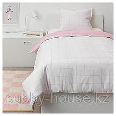 МЁЙЛИГХЕТ Пододеяльник и 1 наволочка, розовый, графический орнамент, 150x200/50x70 см, фото 2