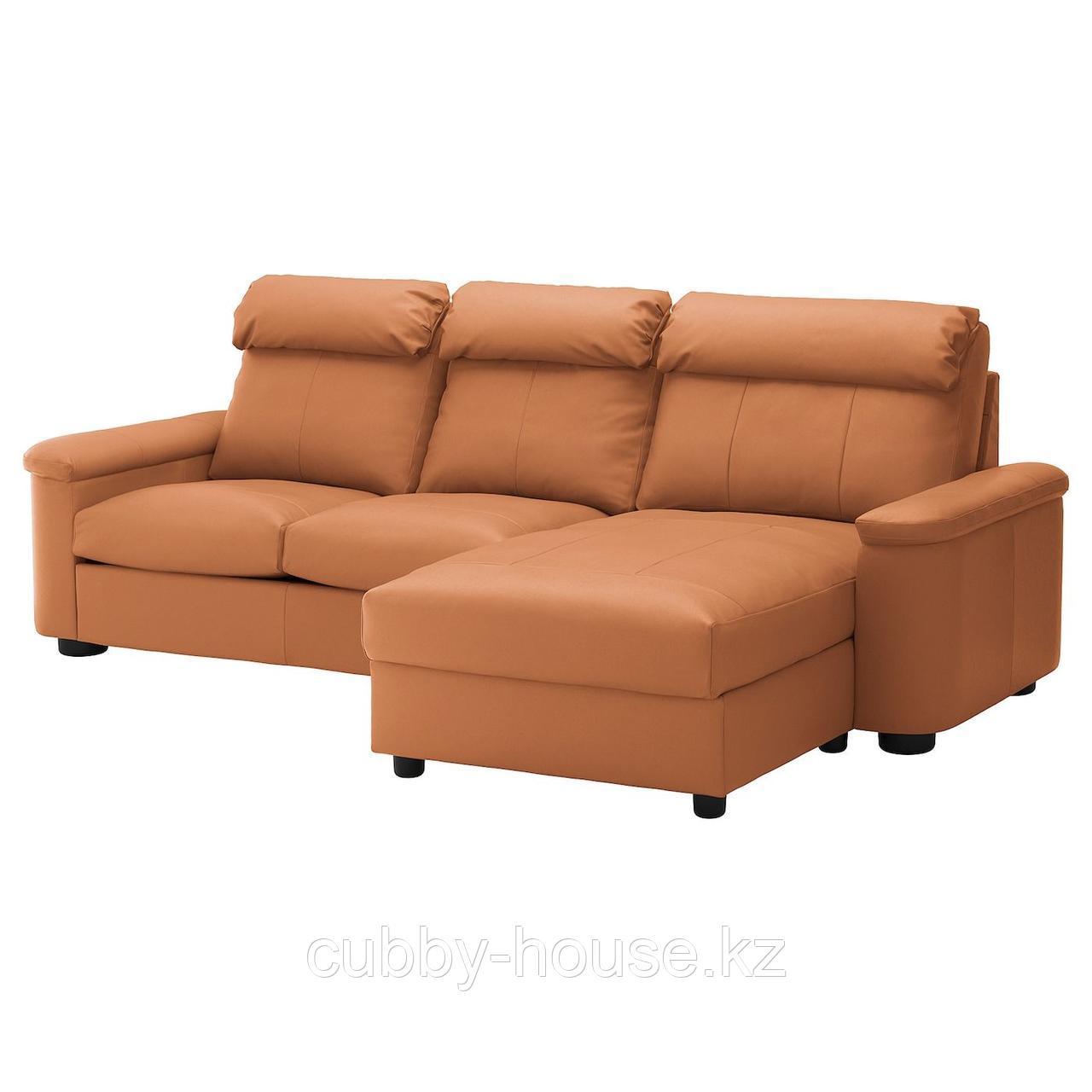 ЛИДГУЛЬТ 3-местный диван, с козеткой, Гранн/Бумстад темно-коричневый