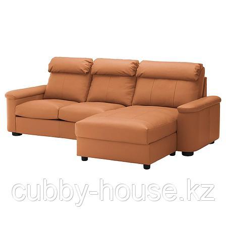 ЛИДГУЛЬТ 3-местный диван, с козеткой, Гранн/Бумстад темно-коричневый, фото 2