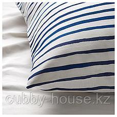СОНГЛЭРКА Пододеяльник и 1 наволочка, в полоску, синий белый, 150x200/50x70 см, фото 3