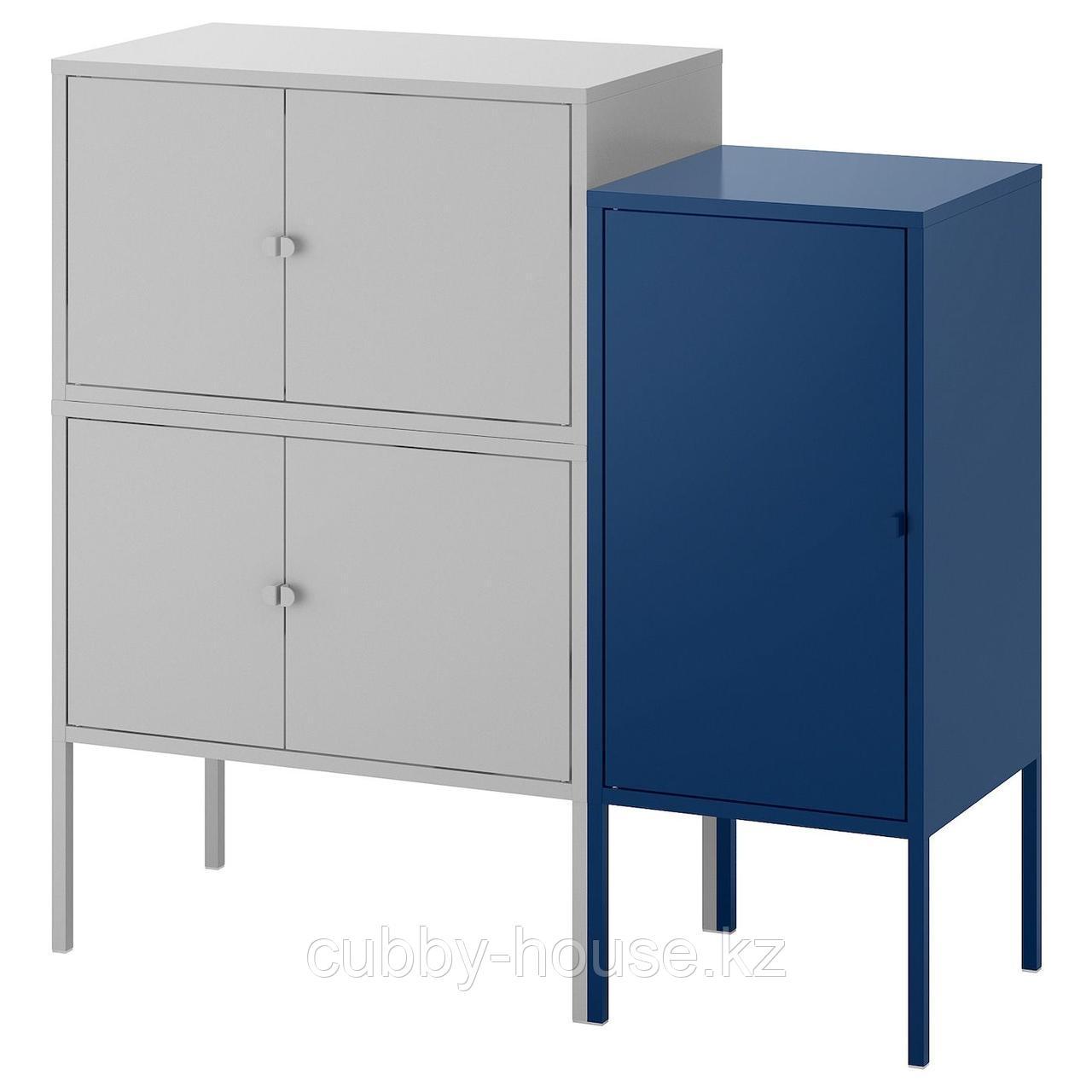 ЛИКСГУЛЬТ Комбинация шкафов, серый, красный, 95x35x92 см