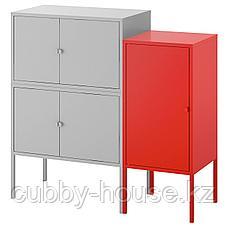 ЛИКСГУЛЬТ Комбинация шкафов, серый, красный, 95x35x92 см, фото 2
