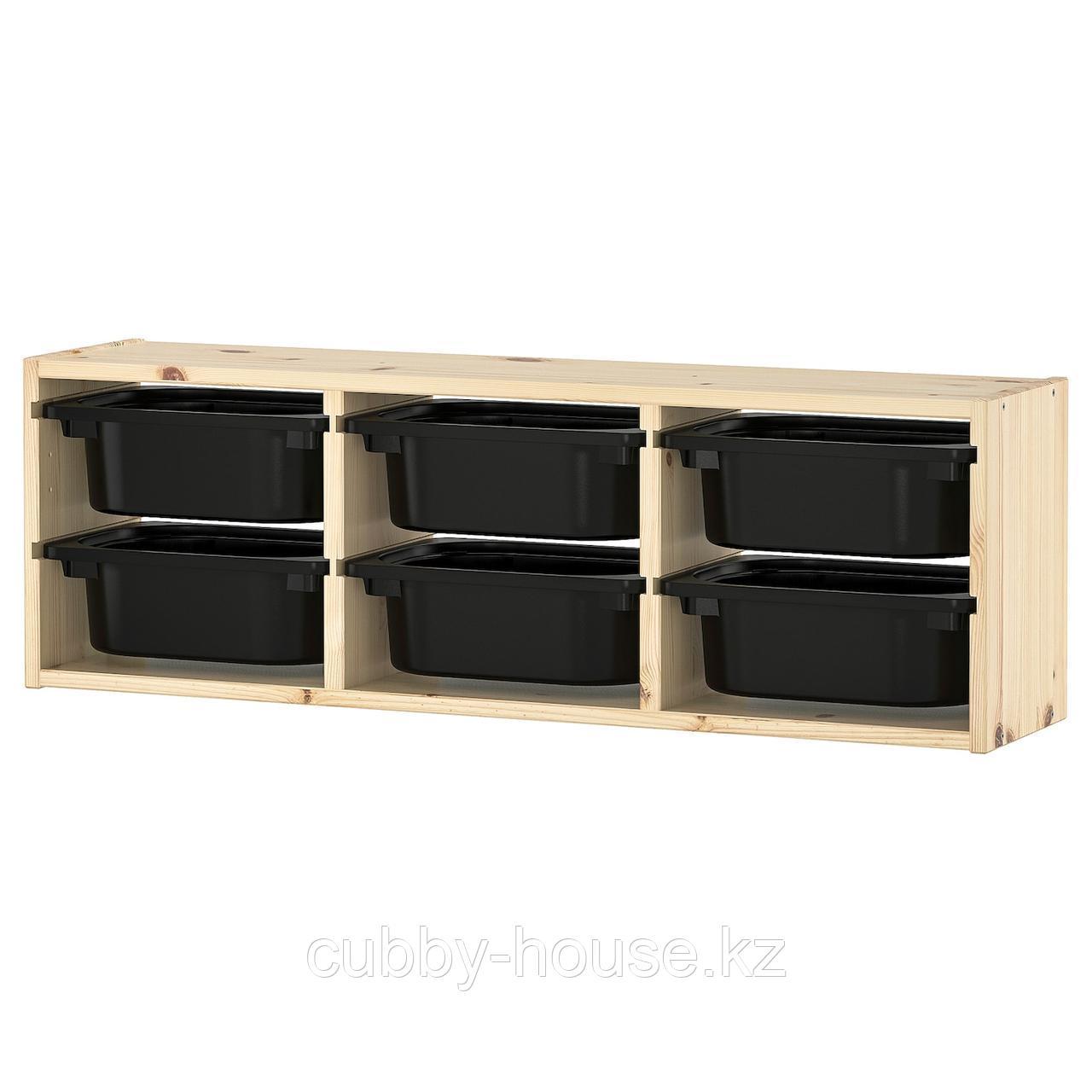 ТРУФАСТ Настенный модуль для хранения, светлая беленая сосна, белый, 93x21x30 см