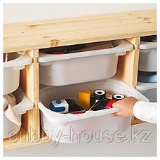 ТРУФАСТ Настенный модуль для хранения, светлая беленая сосна, белый, 93x21x30 см, фото 2
