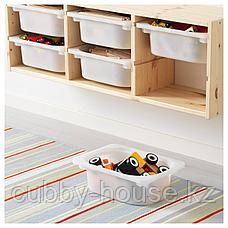 ТРУФАСТ Настенный модуль для хранения, светлая беленая сосна, белый, 93x21x30 см, фото 3