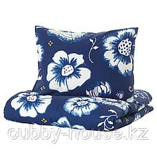 СОНГЛЭРКА Пододеяльник и 1 наволочка, цветок, темно-синий белый, 150x200/50x70 см, фото 2