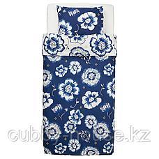 СОНГЛЭРКА Пододеяльник и 1 наволочка, цветок, темно-синий белый, 150x200/50x70 см, фото 3
