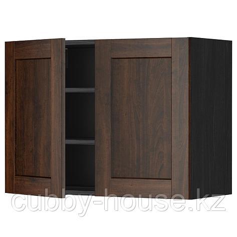 МЕТОД Навесной шкаф с полками/2дверцы, белый, Будбин серый, 60x80 см, фото 2