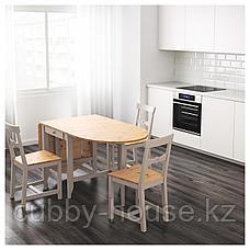 ГЭМЛЕБИ Стол складной, светлая морилка антик, серый, 67/134/201x78 см, фото 2