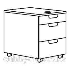 ГАЛАНТ Тумба с ящиками на колесах, белый, 45x55 см, фото 3
