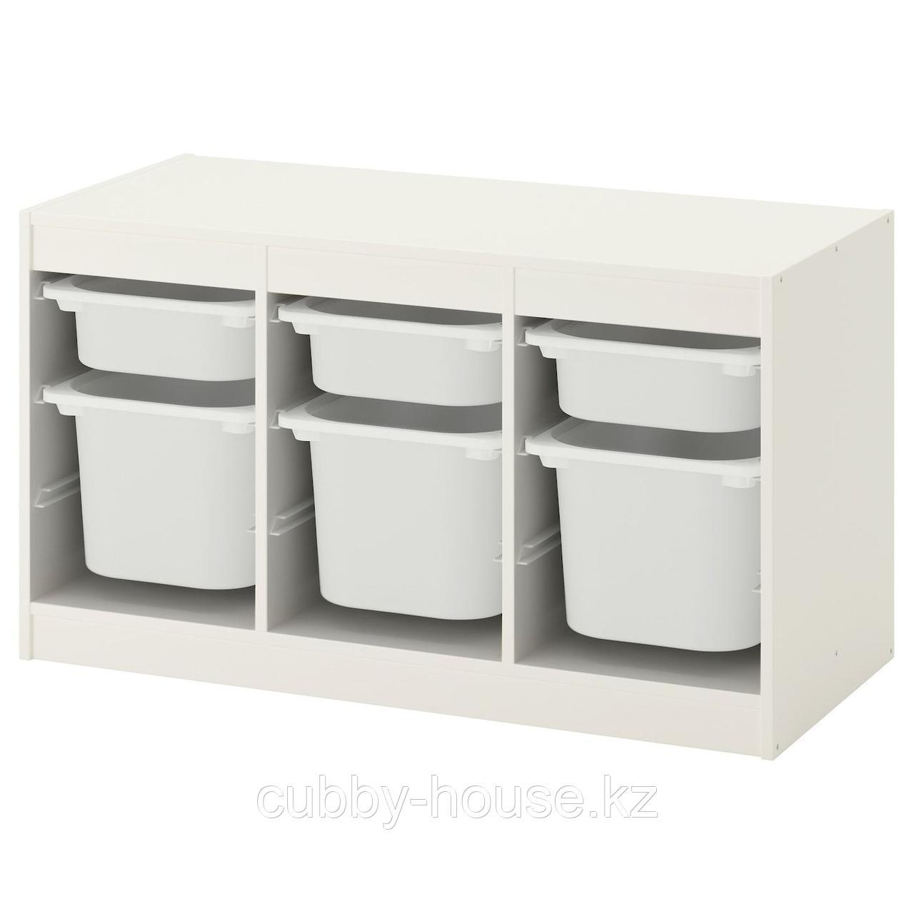ТРУФАСТ Комбинация д/хранения+контейнеры, белый розовый, розовый, 99x44x56 см