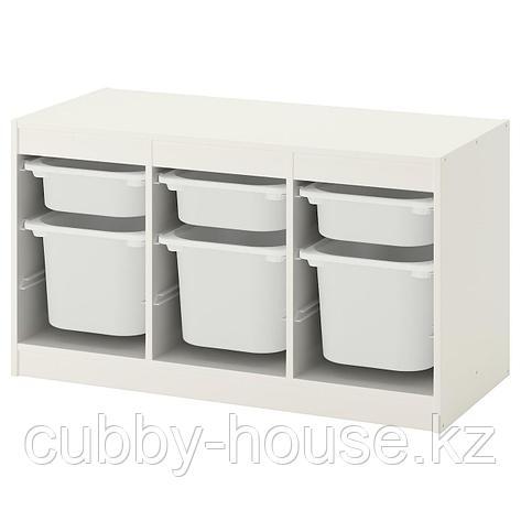 ТРУФАСТ Комбинация д/хранения+контейнеры, белый розовый, розовый, 99x44x56 см, фото 2