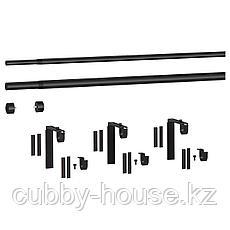 ХУГАД / РЭККА Тройной гардинный карниз,комбинация, черный, 120-210 см, фото 3